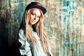 image of dreadlocks  - Modern teenage girl with blonde dreadlocks - JPG