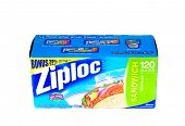 Hayward, CA - January 11, 2015: Packet of 120 Ziploc brand Sandwich bags by Johnson