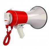 Megaphone or loudspeaker isolated on white. 3d