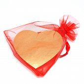 Golden Heart In Red Pouch