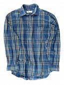 Man's blue cotton plaid shirt