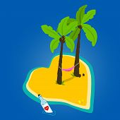foto of deserted island  - Vector illustration of a heart shaped beautiful deserted island with palm trees and a hammock and a love message in a bottle - JPG