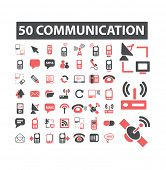 50 communication, connection, mobile icons, signs, symbols, illustrations set on background, vector