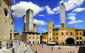 medieval San Gimignano, central square, Tuscany, Italy