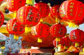 Chinese lanterns in chinese new years day. Anniversary in new years day. Lanterns in China temple