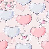 Hand Drawn Seamless Pattern With Heart Balloons And Letters