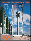 Vintage  Postage Stamp. Munich Olymhic City 1972. Block.