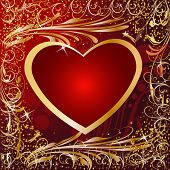 Maroon Gold Artistic Heart Valentine