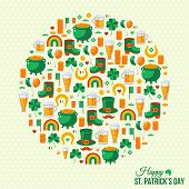 Happy Patrick's Day Concept with Flat Lovely Icons Arranged in Form of Circle.