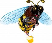 image of flying-insect  - Flying with a bucket of honey bee happy is something to see - JPG