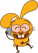 Cute yellow bunny talking on a smartphone