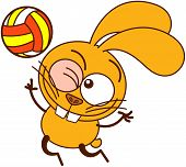 Cute yellow bunny serving in a volleyball match