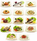 Set of different tasty dishes