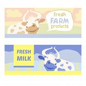Fresh farm products. Happy cow on meadow. Editable banner. Rustic natural products. Agricultural.Cow