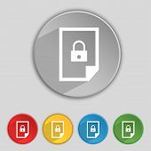 File Locked Icon Sign. Set Of Coloured Buttons. Vector