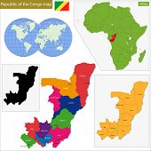 Map of Republic of the Congo with high detail and accuracy and it is divided into provinces which are colored with different bright colors