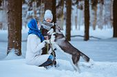 picture of puppies mother dog  - mother and young daughter walking with husky dog in winter forest Winter fun - JPG