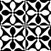 Seamless Petal and Square Pattern. Black and White Regular Texture