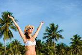 Blissful Woman Enjoying Tropical Caribbean Vacation Freedom