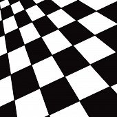 A large black and white checker floor