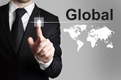 Businessman Pushing Button Global Worldmap