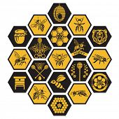 picture of honey bee hive  - labels with bee and honey on black background - JPG