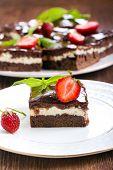 stock photo of chocolate fudge  - Chocolate fudge brownies with soft cheese filling - JPG