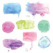 Set of watercolor splashes, vector