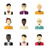 Vector Flat Icon Set. Different People Character - Men, Businessman, Technical Support, Manager