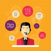 Technical Support Banners Set Assistant Man With Icons Flat Design Vector Illustration