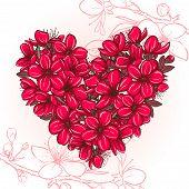 Plum blossomin the shape of heart