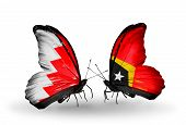 Two Butterflies With Flags On Wings As Symbol Of Relations Bahrain And East Timor