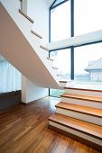 Wooden Stairway In Detached House