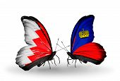 Two Butterflies With Flags On Wings As Symbol Of Relations Bahrain And  Liechtenstein