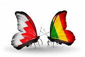 Two Butterflies With Flags On Wings As Symbol Of Relations Bahrain And  Mali