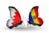 Two Butterflies With Flags On Wings As Symbol Of Relations Bahrain And Moldova