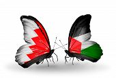 Two Butterflies With Flags On Wings As Symbol Of Relations Bahrain And Palestine