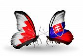 Two Butterflies With Flags On Wings As Symbol Of Relations Bahrain And  Slovakia