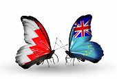 Two Butterflies With Flags On Wings As Symbol Of Relations Bahrain And Tuvalu