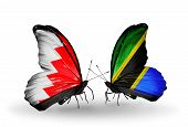Two Butterflies With Flags On Wings As Symbol Of Relations Bahrain And Tanzania