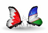 Two Butterflies With Flags On Wings As Symbol Of Relations Bahrain And Uzbekistan