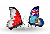 Two Butterflies With Flags On Wings As Symbol Of Relations Bahrain And  Fiji