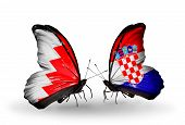 Two Butterflies With Flags On Wings As Symbol Of Relations Bahrain And Croatia