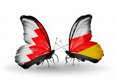 Two Butterflies With Flags On Wings As Symbol Of Relations Bahrain And South Ossetia