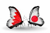 Two Butterflies With Flags On Wings As Symbol Of Relations Bahrain And Japan