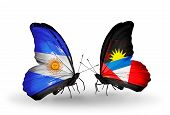 Two Butterflies With Flags On Wings As Symbol Of Relations Argentina And Antigua And Barbuda