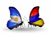 Two Butterflies With Flags On Wings As Symbol Of Relations Argentina And Armenia