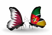 Two Butterflies With Flags On Wings As Symbol Of Relations Qatar And Mozambique