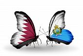 Two Butterflies With Flags On Wings As Symbol Of Relations Qatar And San Marino