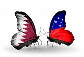 picture of samoa  - Two butterflies with flags on wings as symbol of relations Qatar and Samoa - JPG